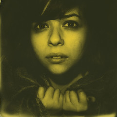 Polaroid Week, Day 7 (abdukted1456) Tags: portrait woman slr film face project polaroid se tip 600 integral instant duotone expired slr680 680 impossible expiredfilm instantfilm polaroidweek duochrome 680se roidweek yellow600 thirdmanedition