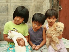 children and their pets (the foreign photographer - ) Tags: dog cat portraits canon children thailand three kiss bangkok pussy khlong bangkhen thanon 400d