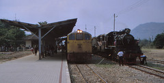 Thailand - Kanchanaburi- Meet en Great (railasia) Tags: heritage thailand crossing nineties kanchanaburi generalelectric srt mogul metergauge specialrun series4000 exjnr steamlocotrain dlocotrain classc56