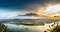 A scaft of cloud (Le Hong Ha) Tags: travel trees red cloud mountain colour reflection nature sunrise river landscape nikon north vietnam yellew nikor