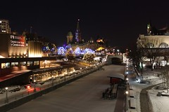 Ottawa Christmas by Night (Caleb Ficner) Tags: christmas winter night lights canal ottawa parliament parliamenthill rideau rideaucanal peacetower ottawaskyline parliamentofcanada calebficner