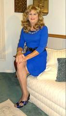 Blue Dress (bobbievnc) Tags: hair pumps highheels dress longhair tgirl short blonde heels blondehair pantyhose crossdresser bluedress shortdress tanpantyhose pantyhoselegs opentoeheels