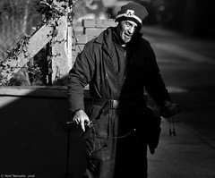 The Internet Mechanic. (Neil. Moralee) Tags: street old winter bw white man black cold male broken monochrome hat sunshine mono belt nikon technology bright candid internet working neil tools devon mature freeze overalls labour worker mechanic engineer telecom electrician hemyock d7100 moralee technicial