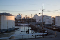 Oil Refinery (metroblossom) Tags: sunset indiana storage oil gasoline bp tanks whiting lateafternoon oilrefinery img1180 northwesternindiana whitingrefinery