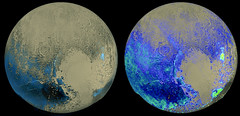 Pluto's Water Ice Distribution (sjrankin) Tags: ice composite edited nasa pluto waterice newhorizons 30january2016