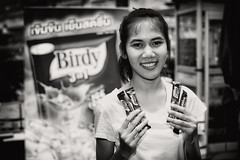 Birdy Girl Bangkok (siebe ) Tags: street portrait people blackandwhite coffee girl monochrome promotion thailand photography bangkok streetphotography photojournalism documentary thai birdy icecoffee advertise 2016 promote     siebebaardafotografie