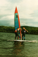 Windsurfing on Loch Ard 1986 (Doug_Cook) Tags: summer fun scotland instructors sail windsurfing loch 1986 1980s wetsuits windsurf watersport mistral thetrossachs dougcook lochard kinlochard foresthillshotel thetrossachsclub mistralboards foresthillsleisurecentre foresthillshotelwatersportscentre