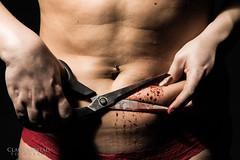 Never good enough (Claus Jrstad) Tags: girl beauty fashion self pain blood image body cut fat injury sickness scar scissor esteem bodu harming bildekritikk