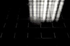 Illuminator - 22 (Inside Outside) (L D Middleton) Tags: lighting door light blackandwhite bw white reflection glass monochrome dark print lights wire fuji finger smudge ceiling reflected fujifilm fingerprint smudged firedoor illuminator x100t ldmiddleton