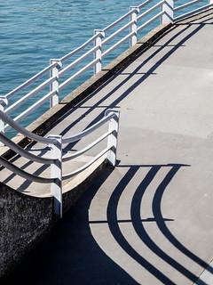 Lyon - Escalier du pont Clemenceau sur la Saône.