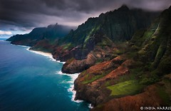 Jurassic Five-0 (India H.) Tags: travel seascape mountains nature water landscape island hawaii coast pacific outdoor dramatic aerial cliffs kauai napali travelphotography