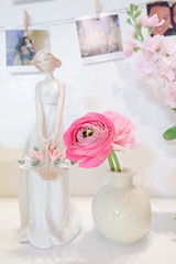 Beautiful Pink Roses in a vase, decoration for wedding, with abstract blur background (enchanted.fairy) Tags: