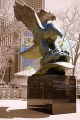 Commemoration Of World War II Armed Forces in Battery Park NYC (nrhodesphotos(the_eye_of_the_moment)) Tags: trees windows shadow reflection statue stone buildings outdoor carousel batterypark marble manhatten plantlife seaglass armedforces nycmetal wwwflickrcomphotostheeyeofthemoment dsc08166 theeyeofthemoment21gmailcom