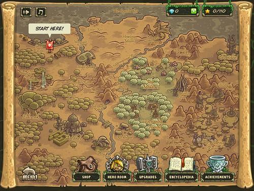 Kingdom Rush Origins Level Selection: screenshots, UI