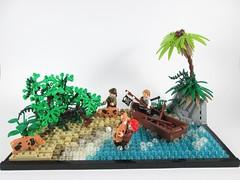 First settlers of Moray's Den (Jacob Nion) Tags: island pig ship lego jungle pirate captain morgan vignette bobs eurobricks