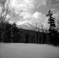 Mt.Tokushunbetsu from Mt.Horohoro (threepinner) Tags: snow japan spring hokkaido   date tmax100 hokkaidou otaki 75mm northernjapan   f34 ebcfujinon mountainsnaps  finedol mthorohoro fujiholga120s  mttokushunbetsu