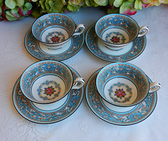 Wedgwood Porcelain Cups & Saucers ~ Florentine ~ Turquoise (Donna's Collectables) Tags: turquoise cups porcelain ~ wedgwood saucers florentine