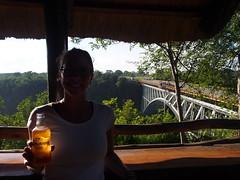 Post-bungy celebratory drink (little_duckie) Tags: africa zimbabwe bungy bungee zambezi bungyjump zambeziriver 111metres
