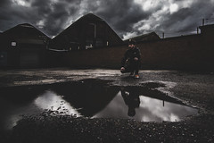 Alone (quentin_uda) Tags: sky urban water puddle industrial alone wideangle reflect atx116prodx
