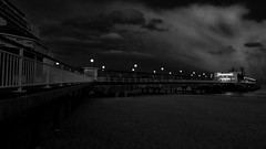 The Pier (Thank you for 4M+ views.) Tags: uk cloud white black beach night fence dark landscape lights evening pier spring echo illuminated dorset april nightscene railings bournemouth 2016 nickfewings