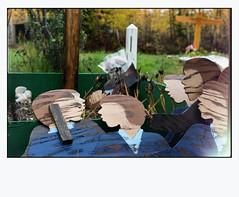 Birch Hill Cemetery (R. Drozda) Tags: autumn film grave alaska fence fallcolor cross lightleak 35mmfilm minoltasrt101 fairbanks expiredfilm gravemarker colorfilm gravegoods fujicolorsuperiaxtra800 plywoodcutouts drozda birchhillcemetery pandalab3890 rokkor58mm14lens