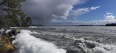 Melting spring ice (Kari Siren) Tags: panorama lake storm ice clouds finland spring melt jaala karijarvi