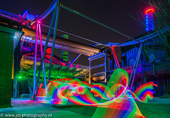 Theme park (JdJ Photography (www.jdj-photography.nl)) Tags: lighting longexposure light chimney sky colour industry metal regenboog night germany dark evening licht rainbow europa europe industrial bright nacht avond lucht duisburg twigs helder industrie nordrheinwestfalen duitsland ruhrgebied metaal takken donker landschaftsparknord kleur ruhrarea verlichting northrhinewestphalia industrieel schoorsteen meiderich langesluitertijd duisburgnord duisburgmeiderich noordrijnwestfalen pixelstick