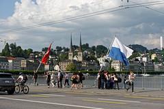 Lucerne 12 (mpetr1960) Tags: road bridge people building bicycle switzerland nikon europe flag eu lucerne d800 nikond800
