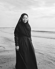 Wife (rifqi dahlgren) Tags: portrait bw woman beach indonesia muslim hijab balikpapan strobist x100s