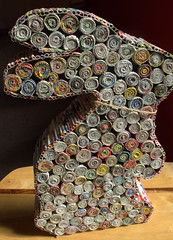 Rolled Paper Rabbit (Tony Worrall Foto) Tags: color rabbit art paper fun thailand artwork colours arty recycled many sold tube tubes twist collection made round rubbish roll colourful tight outline recycle quirky fit rolled paperrabbit