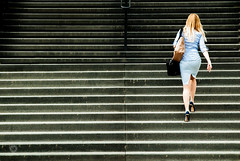 To the city hall... (violaferenc) Tags: woman stairs bluedress