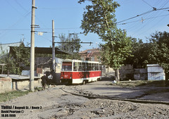 Tbilisi Tramway in 1999 September 19 (Irakli Zhozhuashvili) Tags: road city railroad david public car train georgia town outdoor trolley country transport 9 tram 1999 september transportation vehicle streetcar tramway trolleys tbilisi pearson strassenbahn bonde tramvay tranvia terminus trikk tramwaj eindpunt villamos elctrico tiflis sporvogn   tramwaje tramways georgien tbilissi tranvias elctricos strassenbahnen tramm  endhaltestelle  tramvie sprvg strasenbahn  sporvei   strasenbahnen   tramvaiul raitioliikenne