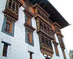 Utse, Ringpung Dzong, Paro, Bhutan (susiefleckney) Tags: woodwork bhutan paro utse centraltower ringpungdzong