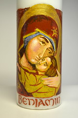 DSC_0869 (Mike Quirke Icon Art) Tags: candle icon virginmary motherandchild baptismalcandle motherofmercy virginoftenderness eleusaicon