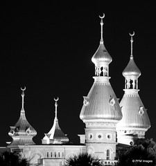 University of Tampa Minarets (pandt) Tags: city light blackandwhite bw white black monochrome night canon tampa eos rebel flickr cityscape nightscape outdoor minaret crescent explore riverwalk universityoftampa t1i