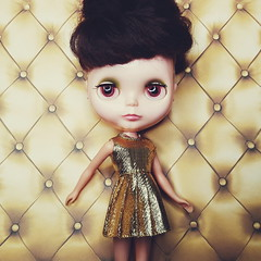 anouk had to be the first to model this new gold dress