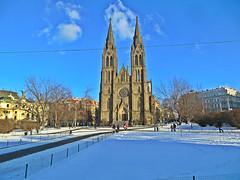St.Ludmila church on Namesti Miru square in Prague, Czech Republic. January 29, 2016 (Vadiroma) Tags: city winter snow church architecture square europe czech prague capital religion praha neogothic 2016 namestimiru esko stludmilachurch