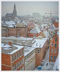 Winter,Snowing,Groningen stad,the Netherlands,Europe (Aheroy) Tags: city winter roofs groningen centrum antonpieck akerk daken groningenstad deraakerk aheroy derakerk aheroyal atoren deratoren