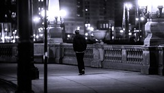 By the river (Alex Szymanek) Tags: street city winter light urban bw chicago cold wet by night canon river dark lights one see town downtown nightlights slow view streetlights earth walk center clear 5d late moment february simple 70200 bnw luminescence stride 2016 urbanite markiii