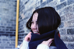 Keisha (ericaparsnip) Tags: portrait film girl female analog 35mm person nikon laugh fujifilm 135 nikonfm2 emotive fm2 fujicolor c41 pro400h homedevelopment canoscan9000f