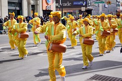 Falungong followers dancing traditional Chinese New Year dance (Billy Kuan-yin Chen) Tags: nyc newyorkcity newyork asian dancers chinese parade queens falungong lunarnewyear flushing asianculture