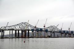 Construction Of The New Tappan Zee Bridge Is Over 50% Complete. Notice All The Construction Equipment In The Middle Of The Tappan Zee Bridge. Photo Taken Saturday January 9, 2016 (ses7) Tags: new construction zee tappan phase bridgeny
