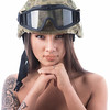 Hard on top, soft underneath (Tommy Høyland) Tags: portrait woman hot sexy beautiful beauty tattoo female soldier person one hands soft fighter candy sweet bare helmet hard goggles young lips desire attractive freckles shoulders shoulder headdress bareshoulders