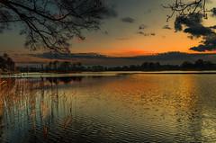 Twilight breeze (piotrekfil) Tags: trees sunset sky lake nature water clouds reflections landscape twilight glow pentax dusk poland waterscape piotrfil
