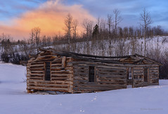 Sunset at the Shane Cabins (Happy Photographer) Tags: old winter sunset movie cabin shane wyoming grandtetonnationalpark febuarary amyhudechek