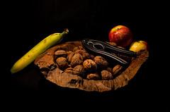 Nuts and Fruit (BartvanDam) Tags: food color apple fruit pentax nuts banana appel stillife photocontest eten nrc noten banaan fotowedstrijd k30