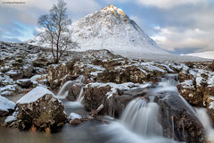 Buachaille Etive Mor (MilesGrayPhotography (AnimalsBeforeHumans)) Tags: uk longexposure morning winter sky snow mountains cold clouds sunrise canon river landscape outdoors photography eos dawn scotland morninglight waterfall highlands rocks europe britain scottish nd glencoe iconic waterscape scottishhighlands buachailleetivemor nd1000 canon6d