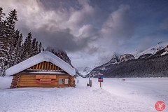 Tourist atraction (Kasia Sokulska (KasiaBasic)) Tags: winter lake snow canada mountains clouds landscape rockies frozen alberta lakelouise boathouse banffnationalpark