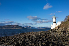 Cloch Lighthouse (Rourkeor) Tags: uk blue sea lighthouse clouds zeiss 35mm t boats island scotland rocks unitedkingdom sony horizon gb fullframe gourock sonnar carlzeiss sonyflickraward rx1r sonyrx1r