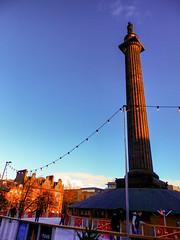 Dusk, St. Andrew Square, Edinburgh (photphobia) Tags: christmas uk statue architecture scotland edinburgh outdoor dusk bluesky icerink podium standrewsquare oldwivestale edinburghinwinter